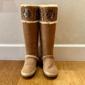 Tory Burch Embellished Tall Shearling Soft Boots